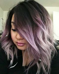 Dye Hair Ombr Smokey Purple Ombre And Long Bob Lavender Tips