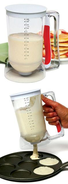 Batter Dispenser // Mix and dispense batter with one innovative tool. Its smart design prevents waste and mess while accurately allotting batter with an easy-to-use pull handle.