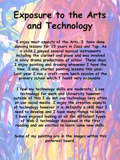 My exposure to the Arts and Technology