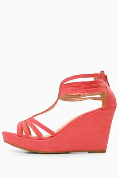 Be on trend and comfortable with these T Bar wedge sandals. Great for working a little standout styling or bringing the glamour into your daytime basics. - T Bar - suede finish - Embellished detail - Ankle Zip Fastening - Heel Wedge Sandals, Bring It On, Coral, Wedges, Glamour, Ankle, Bar, Detail, Heels