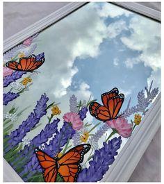 Small Canvas Art, Mini Canvas Art, Mirror Painting, Mirror Art, Aesthetic Painting, Aesthetic Art, Butterfly Painting, Painting Flowers, Diy Art