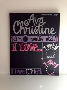 Total MUST HAVE for any mommy-to-be!! Perfect way to document baby's first 12-24 months!!! This would make the absolute best shower gift!   BRAND NEW Month-by-Month CHALKBOARD, unique alternative to 1-12 month stickers, blocks, baby onesie or bodysuit stickers on Etsy, $65.00