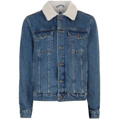 TOPMAN Blue Borg Denim Jacket (1,640 MXN) ❤ liked on Polyvore featuring men's fashion, men's clothing, men's outerwear, men's jackets, blue, mens blue jean jackets, mens lined denim jacket, mens lined jean jacket, mens cotton jacket and mens blue jacket