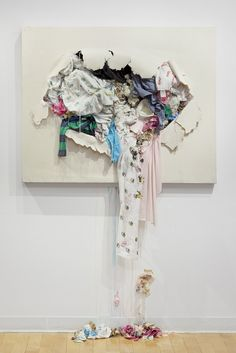 Mommy Loves Me Assemblage work by Sarah Meyers Brent. Fabric Art, Recycled Art, Installation Art, Ca Cd Recycling, Fabric Canvas Art, Fabric Installation, Art Installations, Instalation Art, Trash Art, Textiles, Recycled Art, Recycled Fabric