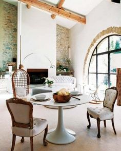 love the natural stone mixed with the modern and linen textures