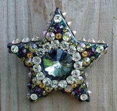 """Magnolia"";  Cosmic Clay by Spirit Spellweaver --Clay & Swarovski Crystal Star Pendant. Sold."