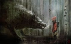 art, illustration, fairy tale, animal, woodland, figure, child, girl // Little Red Riding Hood and the Big Bad Wolf by Manuhell.
