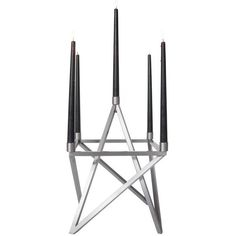 Contemporary Steel 'pagan' Star Candelabra By Material Lust, 2016 ($3,375) ❤ liked on Polyvore featuring home, home decor, candles & candleholders, candelabras, grey, contemporary candelabra, handmade home decor, gray home decor, contemporary sculpture and star candle