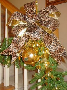 Leopard bows can be very festive. Burlap Christmas Tree, Merry Little Christmas, Gold Christmas, Christmas Greetings, All Things Christmas, Christmas Home, Christmas Tree Ornaments, Christmas Wreaths, Christmas Decorations