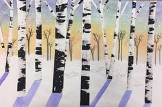 Fun, easy, highly successful project to do with 5th-8th grade. These were done by 6th graders. Mixed media. Drag black acrylic with cardboard for birch textures. Cut them out. Tear paper for snow layers. Pastel sky. Glue trees in varying places. Violet watercolor shadows on the snow. Watercolor grey trees in background. Add glitter and splatter paint for snow.