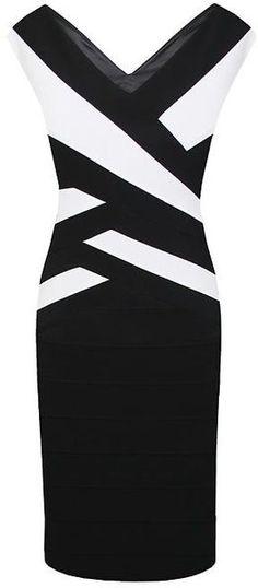 Black Bandage Ottoman Dress - Lyst