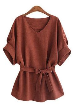 cool Stylish V-Neck Half Sleeve Solid Color Blouse For Women