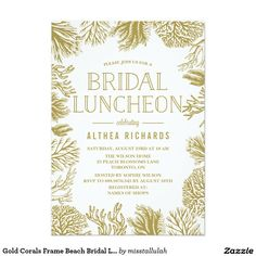 Gold Corals Frame Beach Bridal Luncheon