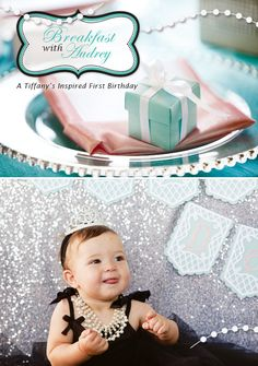 Elegant Breakfast at Tiffany's Inspired First Birthday--The girls will be having a joint birthday party since it's Jan/Feb, so something similar to this will happen. It will have a little twist ; Tiffany Birthday Party, Joint Birthday Parties, First Birthday Party Themes, Tiffany Party, Baby Girl 1st Birthday, Girl Birthday, Birthday Ideas, Mustache Birthday, 25th Birthday