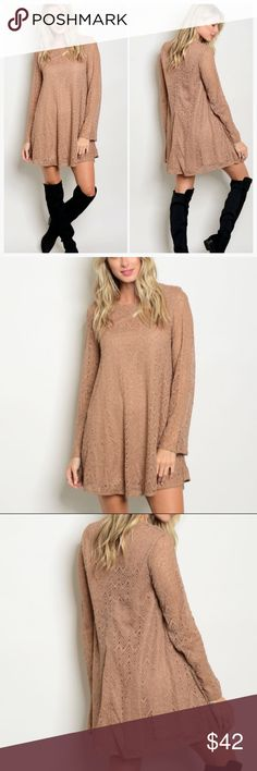 "💃🏻🆕🍁TAUPE LACE DRESS 🆕💃🏻🍁🍂TAUPE LACE DRESS - Available in S / M / L - 100% Polyester. 32"" Long Dresses Long Sleeve"