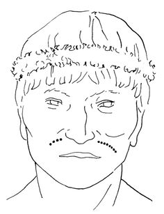 Drawing of the face of El Morro mummy Mo-1 T28 C22, showing the dotted tattoo on his upper lip. Redrawn by A. Deter-Wolf after B. Arriaza (1988), Modelo Bioarqueologico Para la Busqueda y Acercamiento al Individuo Social. Chungara Revista de Antropología Chilena 21, 9–32, Figure 4A. (Image used with kind permission of Aaron Deter-Wolf.)