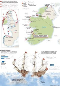 The Spanish Armada's losses The fleet lost 24 ships and men on its return journey along the coast of Ireland History Of Romania, Spain History, Uk History, Spanish Armada, Semitic Languages, Facts About Earth, World Religions, Information Graphics, Military History