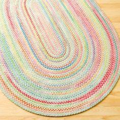 Kids' Rugs: Kids Pastel Oval Braided Area Rug in Rugs