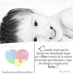 """#GotitasDeAmor   """"Cuando siento que las fuerzas me abandonan logró ver a Dios a través de la sonrisa de mi hijo para llenarme a tope de energía y seguir en la lucha..."""" por Faty Garcia  #cita #frase #reflexión #Autismo #Autism #AutismAwareness #quote   [imagen vía Radu Moldovan]"""