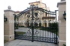Modern wrought iron gate - www. Grill Gate Design, Steel Gate Design, Front Gate Design, Main Gate Design, House Gate Design, Door Gate Design, Wrought Iron Driveway Gates, Iron Garden Gates, Wrought Iron Gate Designs