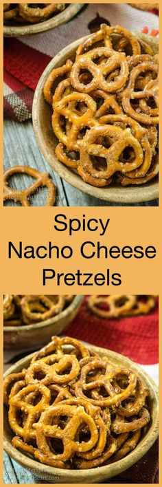 Spicy Nacho Cheese Pretzels are the pull up your sleeves and grab a beverage kind of tailgating snack that are impossible to pass without grabbing a handful.   HostessAtHeart.com