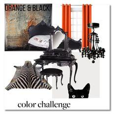 """Dark Side"" by nicquo ❤ liked on Polyvore featuring interior, interiors, interior design, home, home decor, interior decorating, Sun Zero, orangeandblack and colorchallenge"