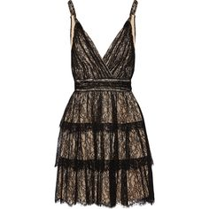 Alice + Olivia Olive tiered lace mini dress (€235) ❤ liked on Polyvore featuring dresses, vestidos, short dresses, mini dresses, black, short floral dresses, short mini dress, lace dress, mini wrap dress and wrap dress