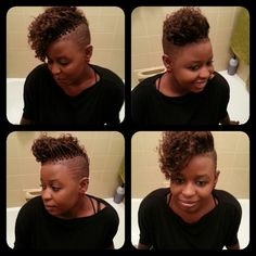 shaved sides with curly braids