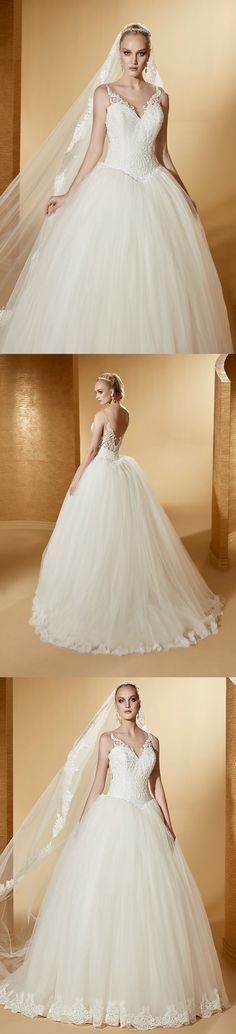 44a7b4d9d9 V-neck Puffy Wedding Gown with Lace Corset and Open Back. UCenter Dress
