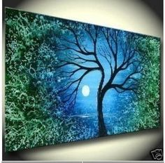 Modern Abstract Huge Wall Art Oil Painting on Canvas Art Tree No Frame Oil Painting Trees, Oil Painting On Canvas, Oil Paintings, Green Paintings, Painting Frames, Landscape Art, Landscape Paintings, Tree Canvas, Abstract Canvas Art
