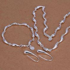S188 Encantadora de Plata chapado en sistemas de la joyería Droptear Pendientes Pulsera Del Collar de plata 925 de la joyería S188/alvajdca axnajoua