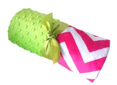 Personalized Baby Blanket Hot Pink and White Minky by babyboos, $35.00