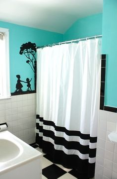 cheap bathroom makeover...love the b/w/turquoise