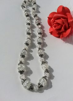 Silver/Clear Crackled Glass Beaded Necklace