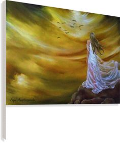 Painting, sky,clouds,girl,woman,female,feminine,figure,white,dress,long,hair,fantasy,scene,psychedelic,picturesque,whimsical,vibrant,vivid,colorful,orange,impressive,cool,beautiful,powerful,atmospheric,celestial,mystical,dreamy,dreamlike,contemporary,imagination,surreal,figurative,modern,step into infinity, fine,oil,wall,art,images,home,office,decor,artwork,modern,items,ideas,for sale,pictorem