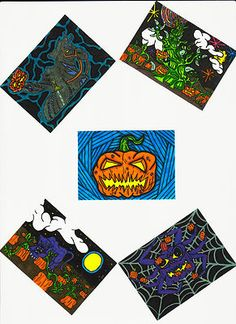 ACEO Print Halloween Pumpkin Collection Set Of 5 Artist Trading Card Horror Art