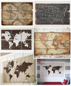 La vuelta al mundo Más Map Projects, Weekend Projects, Crafts To Do, Home Crafts, Diy Crafts, Small Bedroom Designs, Driftwood Art, Elle Decor, Bars For Home