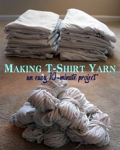 Turn old t-shirts into yarn - DIY Upcycled Crafts Yarn Projects, Knitting Projects, Crochet Projects, Crochet Ideas, Upcycled Crafts, Upcycled Clothing, Repurposed, Sewing Patterns Free, Free Sewing