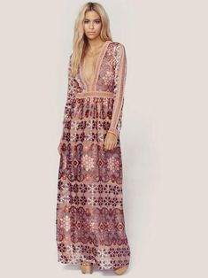 Dovechic Bohemia Chiffon Lace Deep V-Neck Long Sleeves Floral Print Maxi Dress - Maxi Dresses Bohemia Dress, Plus Dresses, Maxi Dresses, Sleeve Dresses, Looks Chic, Sienna Miller, Floral Print Maxi Dress, Mode Style, Boho Outfits