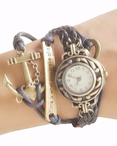 Young  Forever Womens Vintage Time Is What You Make of It Inspirational Bracelet Watch * Learn more by visiting the image link.