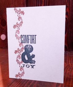 Comfort & Joy - Letterpress Greeting Card. $6.00, via Etsy.