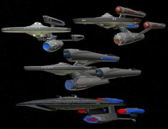 Different variations of Dreadnought Class vessels
