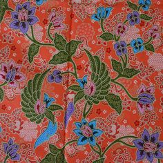 orange flowers pure cotton traditional Indonesian by TheThailand, $17.00