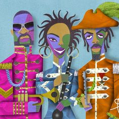 David Cowles ~ The Fugees: Wyclef Jean, Lauryn Hill, Pras Rhythm Art, Haitian Art, Jazz Art, Black Art, Creative Director, Projects To Try, Character Design, Arts And Crafts, Happy Birthday