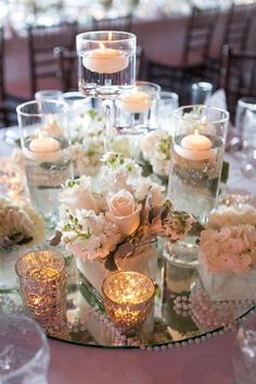 Irish Barn Glam Wedding at Whistling Straits – Floating Candles İdeas. Mirror Centerpiece, Floating Candle Centerpieces, Centerpiece Ideas, Simple Centerpieces, Floating Candles Wedding, Centerpiece Flowers, Irish Wedding, Wedding Day, Diy Wedding