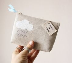 J'adore this little #purse and its little #cloud. Nothing like carrying around a little reminder of a rainy day in your bag. This could be a cute cover for other items, too (ipad case, photo album, etc).