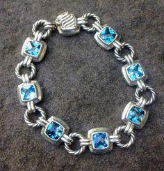 2481b130e6ca SOLD - David Yurman 7mm Blue Topaz Renaissance Silver Cable Link Bracelet -  Albion Style 7.25