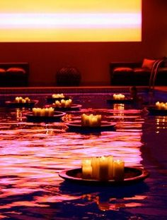 Pool floating candles from world market! You will def see these in my pool!