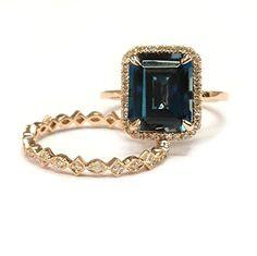 $799 Emerald Cut London Blue topaz Engagement Ring Sets Pave Diamond Wedding 14K Rose Gold,8x10mm,Art Deco Band