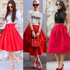 How to Chic: RED MIDI SKIRT